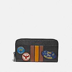 COACH F30756 Accordion Wallet With Varsity Stripe And Military Patches BLACK MULTI/BLACK ANTIQUE NICKEL