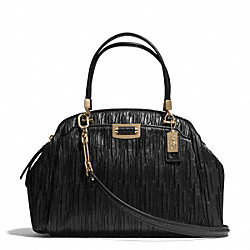 COACH MADISON DOMED SATCHEL IN GATHERED LEATHER - LIGHT GOLD/BLACK - F30783