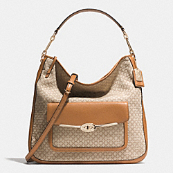 MADISON OP ART NEEDLEPOINT FABRIC HOBO - f30784 - LIGHT GOLD/KHAKI/BURNT CAMEL