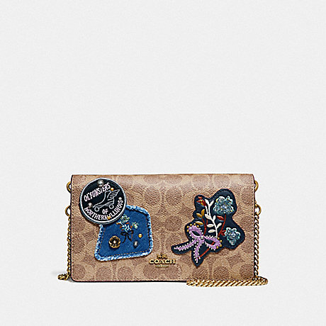 COACH F30866 CALLIE FOLDOVER CHAIN CLUTCH IN SIGNATURE CANVAS WITH PATCHWORK RUST/BRASS
