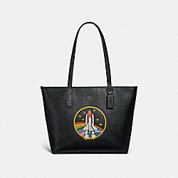CITY ZIP TOTE WITH SPACE ROCKET MOTIF - f30995 - ANTIQUE NICKEL/BLACK