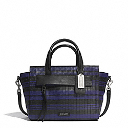 COACH F31001 Bleecker Embossed Woven Leather Mini Riley Carryall SILVER/BLUE INDIGO/BLACK