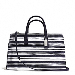 BLEECKER LARGE STUDIO TOTE IN EMBOSSED WOVEN LEATHER - f31081 -  SILVER/WHITE/ULTRA NAVY