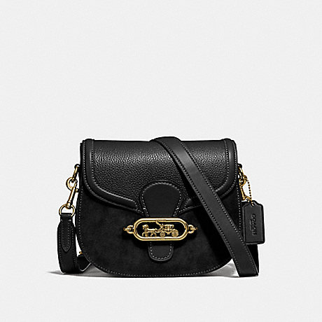 COACH F31113 ELLE SADDLE BAG BLACK/OLD-BRASS