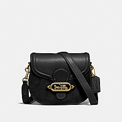 ELLE SADDLE BAG - f31113 - BLACK/OLD BRASS