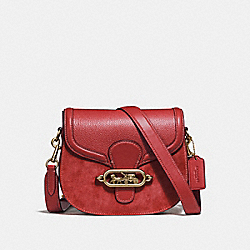 ELLE SADDLE BAG - F31113 - RUBY/OLD BRASS