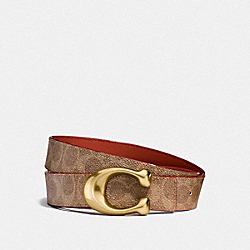 SIGNATURE BUCKLE REVERSIBLE BELT, 32MM - F31114 - BROWN KHAKI/RUST
