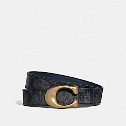 COACH F31114 - SIGNATURE BUCKLE REVERSIBLE BELT, 32MM DENIM/MIDNIGHT NAVY