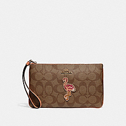 COACH F31124 Large Wristlet In Signature Canvas With Flamingo Motif KHAKI/MULTI/IMITATION GOLD