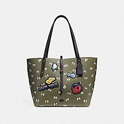 DISNEY X COACH MARKET TOTE WITH SPOOKY EYES PRINT - F31153 - ARMY GREEN