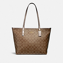 CITY ZIP TOTE IN SIGNATURE CANVAS - f31158 - khaki/platinum/light gold