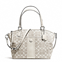 COACH F31161 Signature Stripe Pocket Tote SILVER/LIGHT KHAKI/PARCHMENT