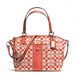COACH F31161 Signature Stripe Pocket Tote SILVER/LIGHT KHAKI/TOMATO