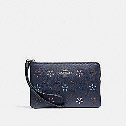 COACH F31163 Corner Zip Wristlet MIDNIGHT NAVY/SILVER