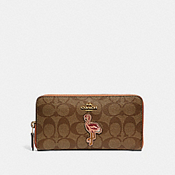 COACH F31166 Accordion Zip Wallet In Signature Canvas With Flamingo Motif KHAKI/MULTI/IMITATION GOLD