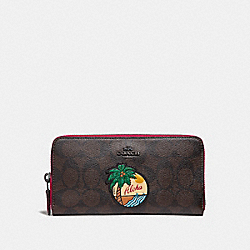 COACH F31167 Accordion Zip Wallet In Signature Canvas With Aloha Motif QBBMC