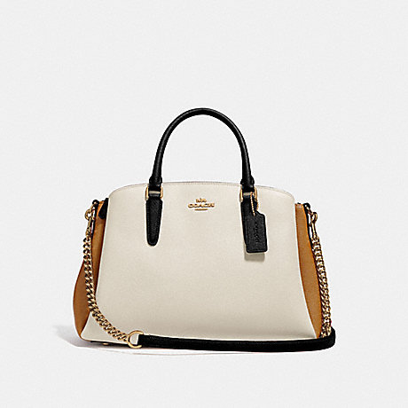 COACH f31170 SAGE CARRYALL IN COLORBLOCK CHALK MULTI/IMITATION GOLD