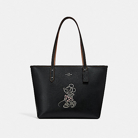 COACH f31207 CITY ZIP TOTE WITH MINNIE MOUSE MOTIF ANTIQUE NICKEL/BLACK