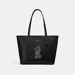 CITY ZIP TOTE WITH MINNIE MOUSE MOTIF - f31207 - ANTIQUE NICKEL/BLACK