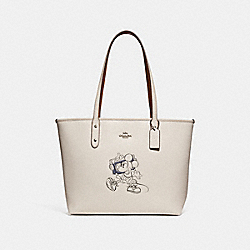 CITY ZIP TOTE WITH MINNIE MOUSE MOTIF - f31207 - SILVER/CHALK