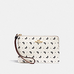 COACH F31244 Corner Zip Wristlet With Butterfly Dot Print CHALK/BLACK/LIGHT GOLD
