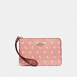 COACH F31244 Corner Zip Wristlet With Butterfly Dot Print BLUSH/CHALK/LIGHT GOLD