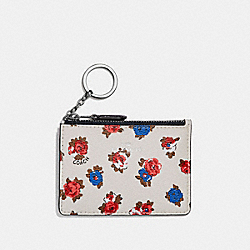 COACH F31247 Mini Id Skinny With Tea Rose Floral Print CHALK MULTI/SILVER
