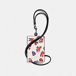 COACH F31248 Id Lanyard With Tea Rose Floral Print CHALK MULTI/SILVER