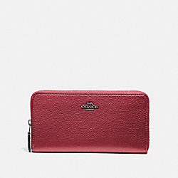 COACH F31263 Accordion Zip Wallet METALLIC HOT PINK/BLACK ANTIQUE NICKEL