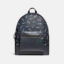 WEST BACKPACK WITH CAR PRINT - f31269 - MIDNIGHT NAVY MULTI/BLACK ANTIQUE NICKEL