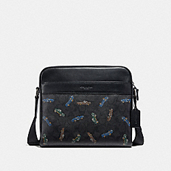 COACH F31270 - CHARLES CAMERA BAG IN SIGNATURE CANVAS WITH CAR PRINT BLACK MULTI/BLACK ANTIQUE NICKEL