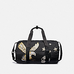 COACH F31289 Packable Duffle With Eagle Motif BLACK MULTI/BLACK ANTIQUE NICKEL