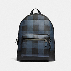 WEST BACKPACK WITH BUFFALO CHECK PRINT - f31291 - BLUE MULTI/BLACK ANTIQUE NICKEL