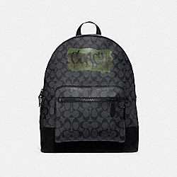 WEST BACKPACK IN SIGNATURE CANVAS WITH GRAFFITI - f31295 - Charcoal/Black/matte black