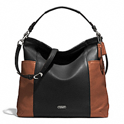 COACH F31304 - PARK COLORBLOCK HOBO SILVER/BLACK/SADDLE