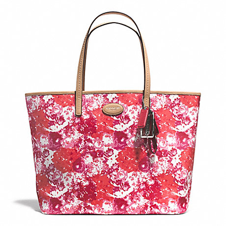 Coach F31314 Metro Floral Print Tote Silver Pink