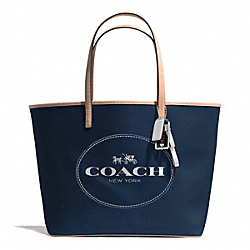 COACH F31315 - METRO HORSE AND CARRIAGE TOTE SILVER/NAVY