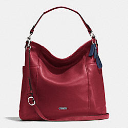 PARK LEATHER HOBO - f31323 - SILVER/CRIMSON