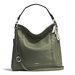 PARK LEATHER HOBO - f31323 - SILVER/OLIVE