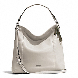 PARK LEATHER HOBO - f31323 - SILVER/PARCHMENT
