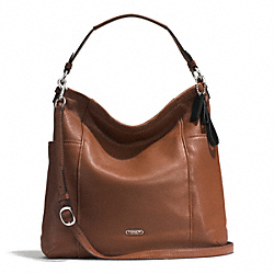PARK LEATHER HOBO - f31323 - SILVER/SADDLE