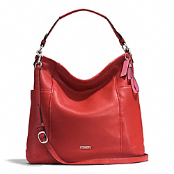 PARK LEATHER HOBO - f31323 - SILVER/VERMILLION