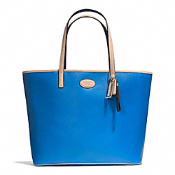 COACH F31326 Metro Leather Tote SILVER/CERULEAN