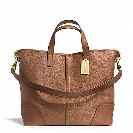 COACH f31334 HADLEY LUXE GRAIN LEATHER DUFFLE BRASS/SADDLE