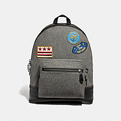 WEST BACKPACK WITH MILITARY PATCHES - F31339 - GREY MULTI/BLACK ANTIQUE NICKEL