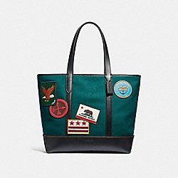 COACH F31340 West Tote With Military Patches FOREST GREEN MULTI/BLACK ANTIQUE NICKEL