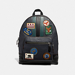 COACH F31346 West Backpack With Varsity Stripe And Military Patches NAVY MULTI/BLACK ANTIQUE NICKEL