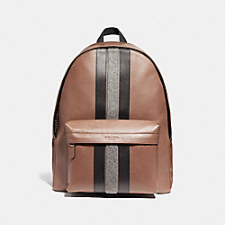 COACH F31347 Charles Backpack With Varsity Stripe SADDLE MULTI/BLACK ANTIQUE NICKEL