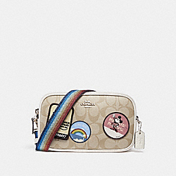 CROSSBODY POUCH IN SIGNATURE CANVAS WITH MINNIE MOUSE PATCHES - f31349 - SILVER/LIGHT KHAKI/CHALK