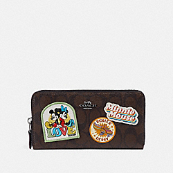 ACCORDION ZIP WALLET IN SIGNATURE CANVAS WITH MINNIE MOUSE PATCHES - f31350 - BROWN/BLACK/BLACK ANTIQUE NICKEL